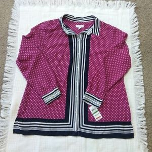 Charter Club Tops - Charter Club Autumn Berry Comb Blouse WT-2